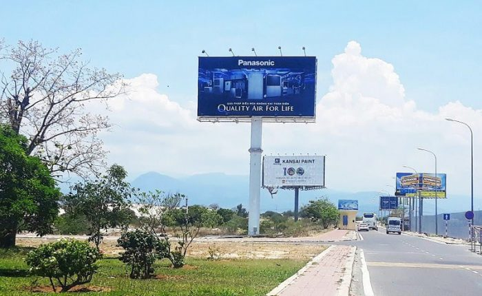 Outdoor billboards are often found on major routes.