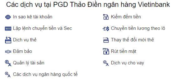 Các dịch vụ tại PGD Thảo Điền ngân hàng Vietinbank