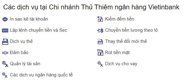Các dịch vụ tại Chi nhánh Thủ Thiêm ngân hàng Vietinbank